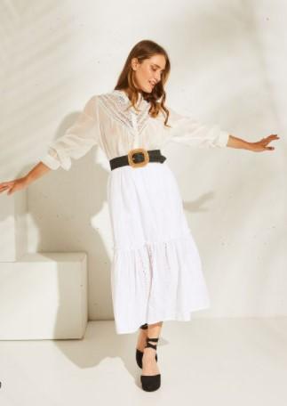 λευκή broderie φούστα BSB καλοκαίρι 2021