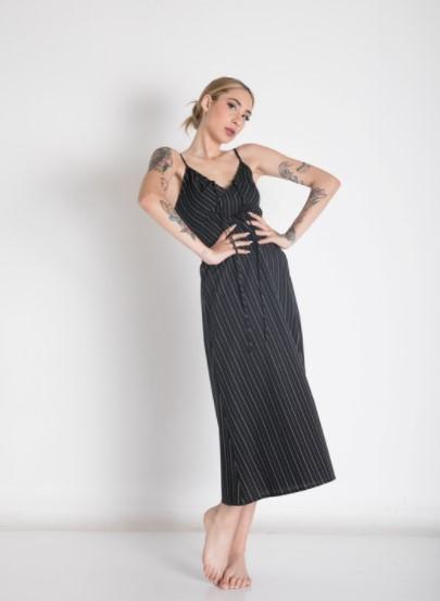 μαύρο φόρεμα ριγέ