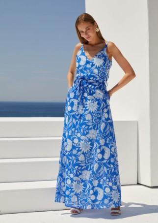 μάξι μπλε φόρεμα