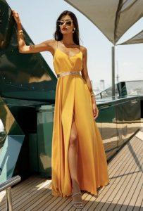 μαξι σατεν κιτρινο φόρεμα