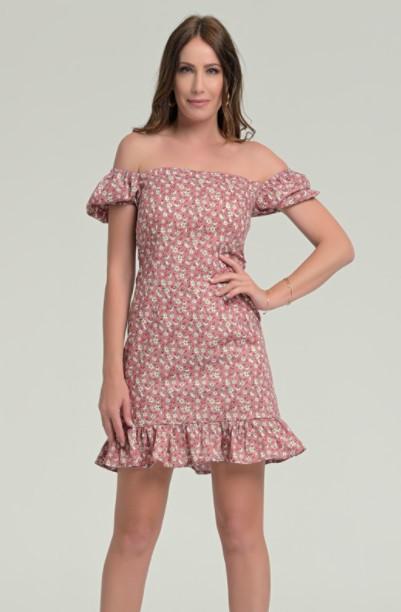 μίνι φόρεμα ροζ φλοράλ