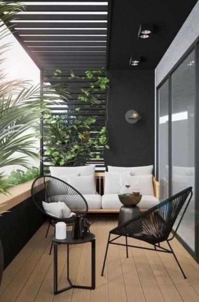 μίνιμαλ βεράντα σκούρο χρώμα μοντέρνο μπαλκόνι