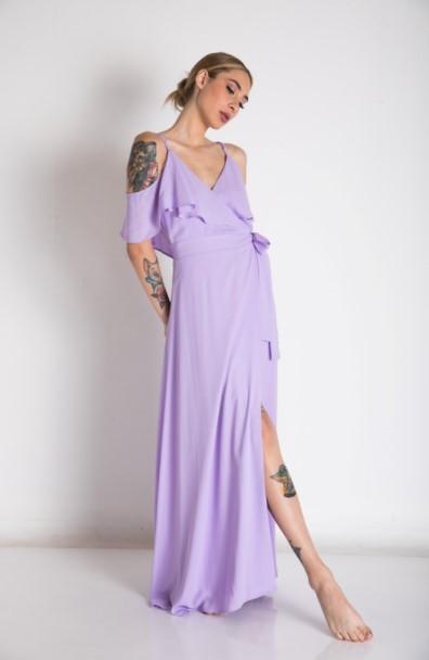 μοβ φόρεμα μάξι