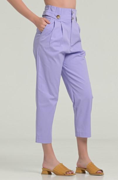 μοβ ψηλόμεσο παντελόνι