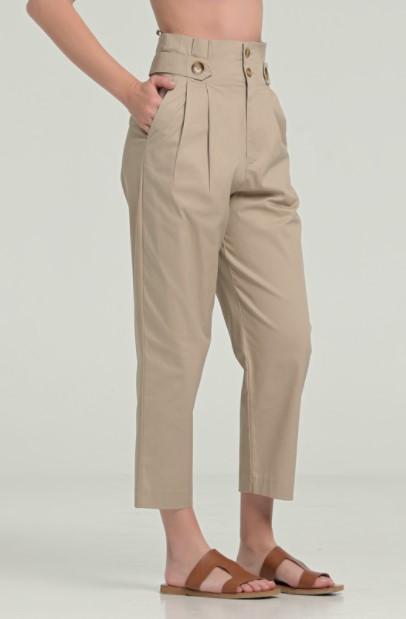 μπεζ ψηλόμεσο παντελόνι ρούχα Paranoia καλοκαίρι 2021