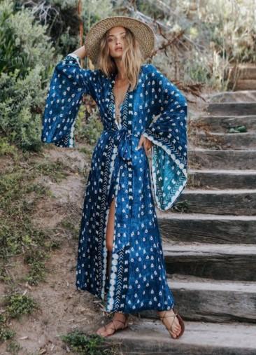 μπλε κιμονό φόρεμα κομμάτια διακοπές