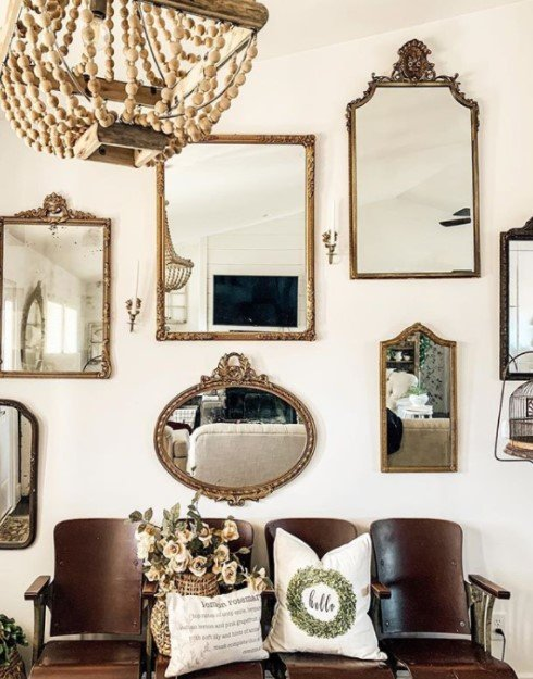 διακόσμηση σαλονιού συνδυασμό καθρέπτες