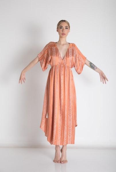 πορτοκαλί φόρεμα μπόχο