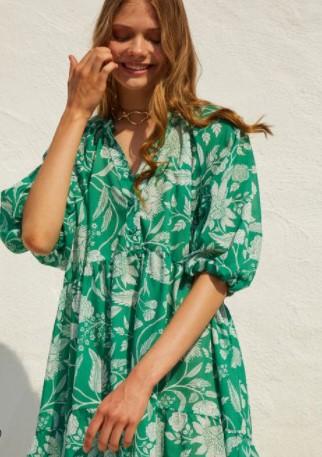 πράσινο εμπριμέ φόρεμα BSB καλοκαίρι 2021