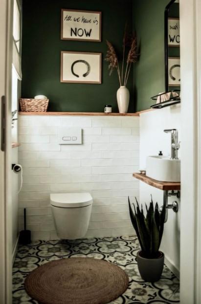πράσινο μπάνιο ρατάν χαλάκι