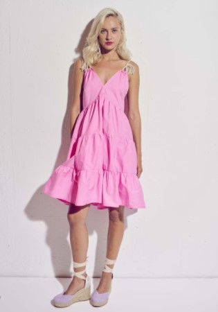 ροζ φόρεμα τιραντέ