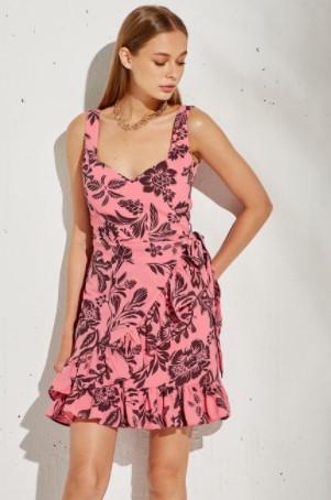 ροζ φόρεμα βολάν BSB καλοκαίρι 2021