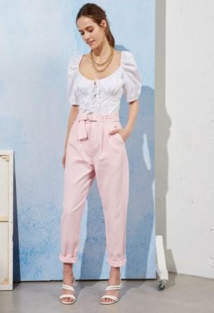 ροζ παντελόνι paperbag