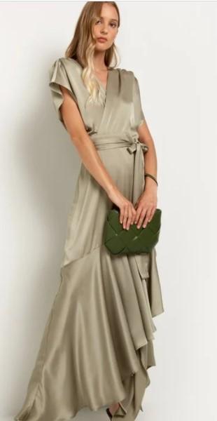 σατινέ μακρύ φόρεμα