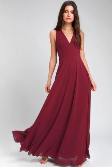 V neck line μακρύ φόρεμα