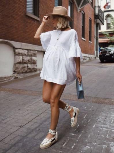άσπρο μίνι φόρεμα εσπαντρίγιες
