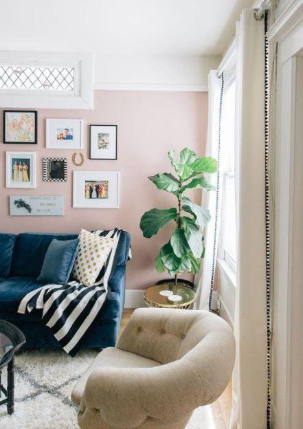 απαλό ροζ χρώμα τοίχου