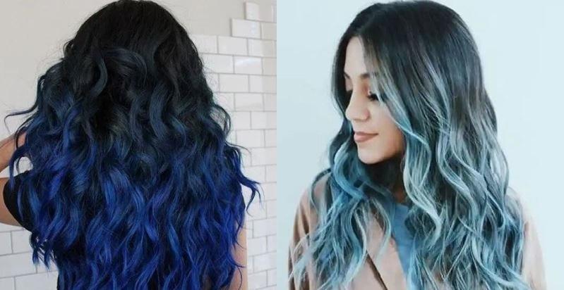 ombre μπλε μαλλιά