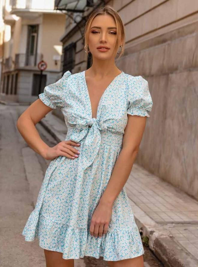 floral φόρεμα με φιόγκο
