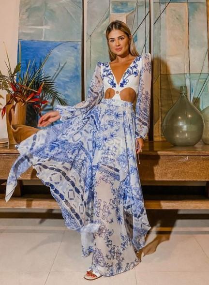 γαλάζιο λευκό φόρεμα κοψίματα