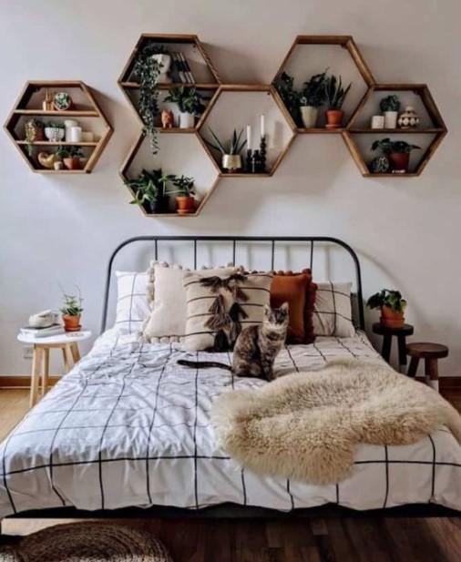 γεωμετρικά ράφια διακοσμήσεις τοίχους κρεβατοκάμαρας