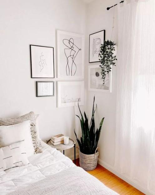 γωνιακό gallery wall υπνοδωμάτιο