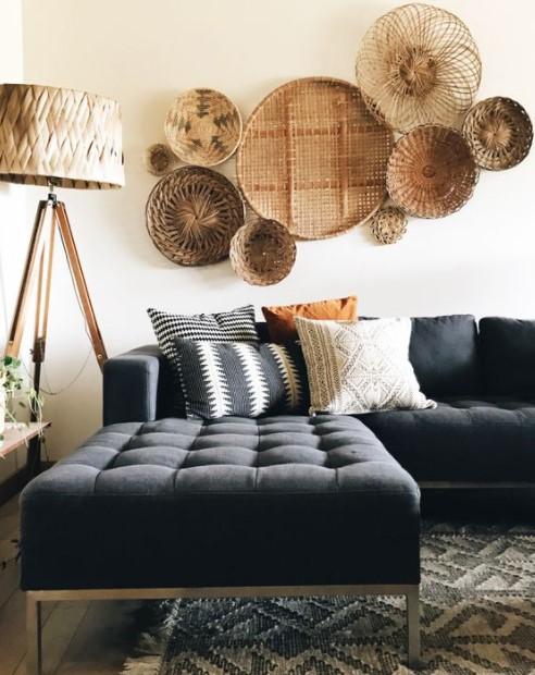 καλάθια τοίχο σκούρος καναπές