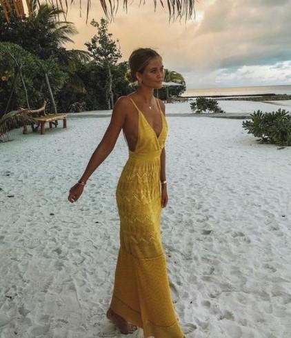 κίτρινο μακρύ φόρεμα φορέματα καλεσμένη γάμο