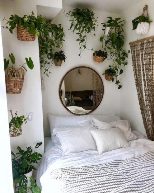 κρεβάτι φυτά τοίχο