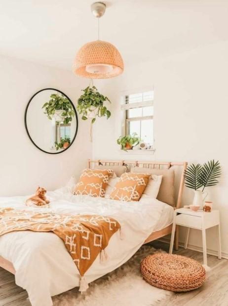 κρεβάτι καθρέφτης φυτό διακοσμήσεις τοίχους κρεβατοκάμαρας