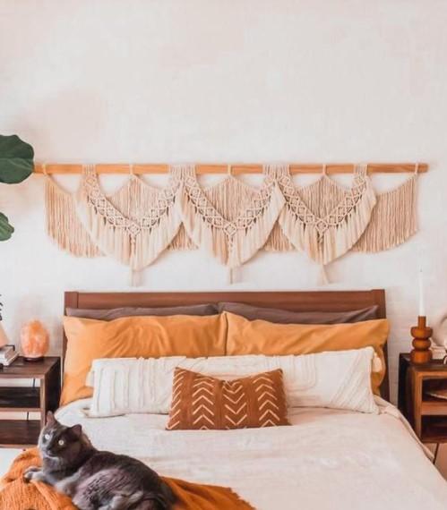 κρεβάτι μακραμέ κομμάτι διακοσμήσεις τοίχους κρεβατοκάμαρας
