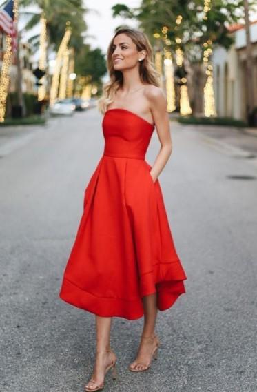 midi φόρεμα κόκκινο στράπλες