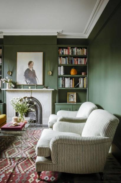 πράσινο σαλόνι φθινοπωρινές χρωματικές παλέτες