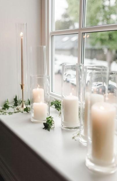 βάζα κεριά παράθυρο
