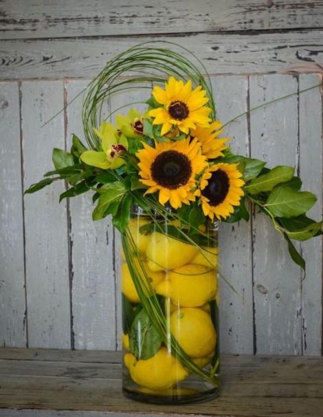 βάζο λεμόνια ηλιοτρόπια βάλεις μέσα βάζο