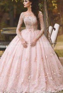δαντελωτο ροζ νυφικο