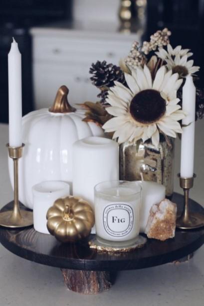 δίσκος κεριά λουλούδια