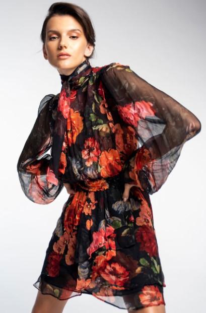 φλοράλ φόρεμα μίνι φθινοπωρινά φορέματα