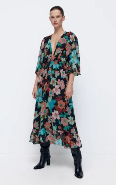φλοράλ μακρύ φόρεμα ρούχα Zara xειμώνα 2021-2022