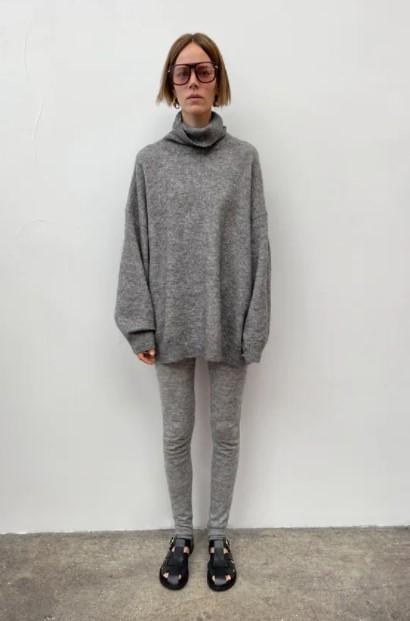 γκρι πλεκτό κολάν πουλόβερ ρούχα Zara xειμώνα 2021-2022