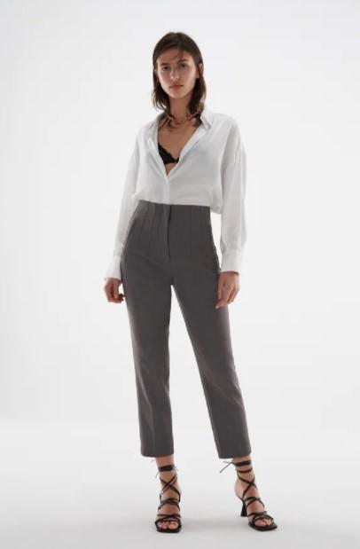γκρι ψηλόμεσο παντελόνι ρούχα Zara xειμώνα 2021-2022