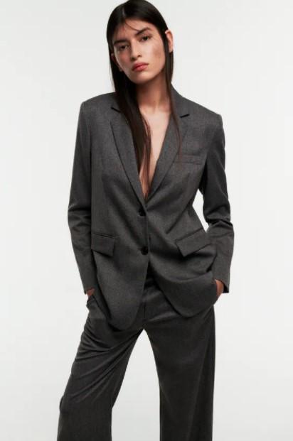 γκρι σακάκι ρούχα Zara xειμώνα 2021-2022