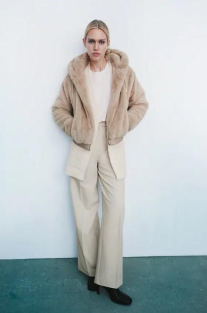 γουνάκι μπεζ ρούχα Zara xειμώνα 2021-2022