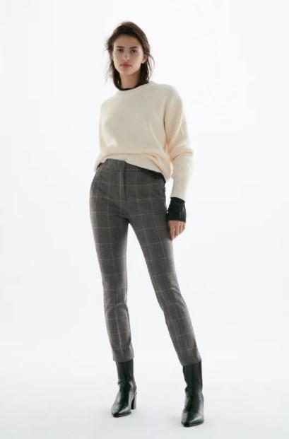 καρό ψηλόμεσο παντελόνι ρούχα Zara xειμώνα 2021-2022