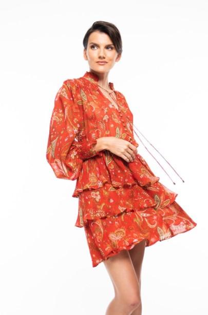 κόκκινο φόρεμα βολάν φθινοπωρινά φορέματα