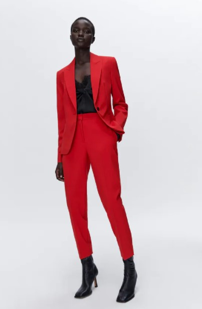 κόκκινο ψηλόμεσο παντελόνι