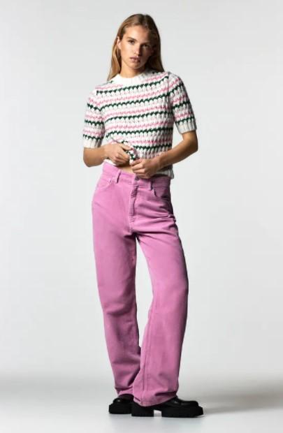 κοντομάνικη πλεκτή μπλούζα