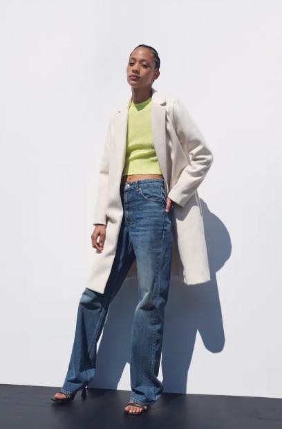 λευκό basic παλτό ρούχα Zara xειμώνα 2021-2022