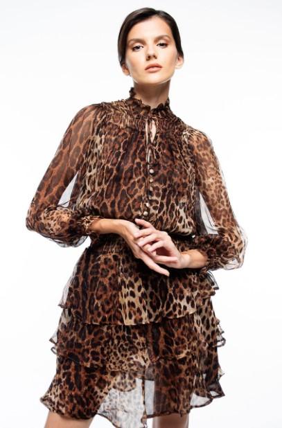 λεοπάρ φόρεμα μακρυμάνικο