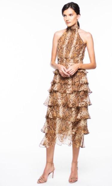 λεοπάρ midi φόρεμα halter